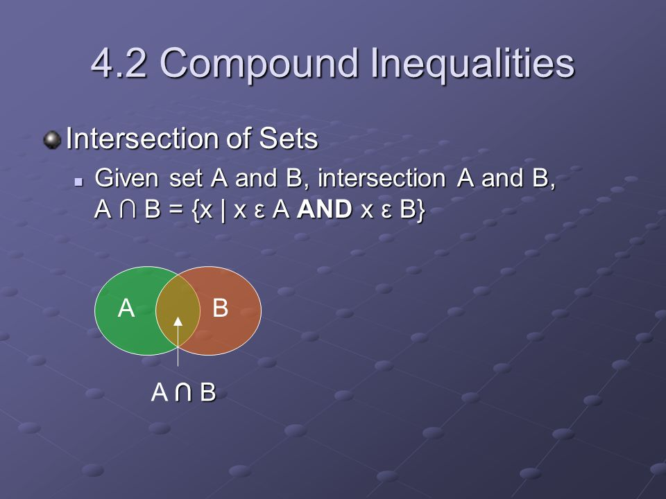 4.2 Compound Inequalities Intersection of Sets Given set A and B, intersection A and B, A ∩ B = {x | x ε A AND x ε B} Given set A and B, intersection A and B, A ∩ B = {x | x ε A AND x ε B} A ∩ B A ∩ B B