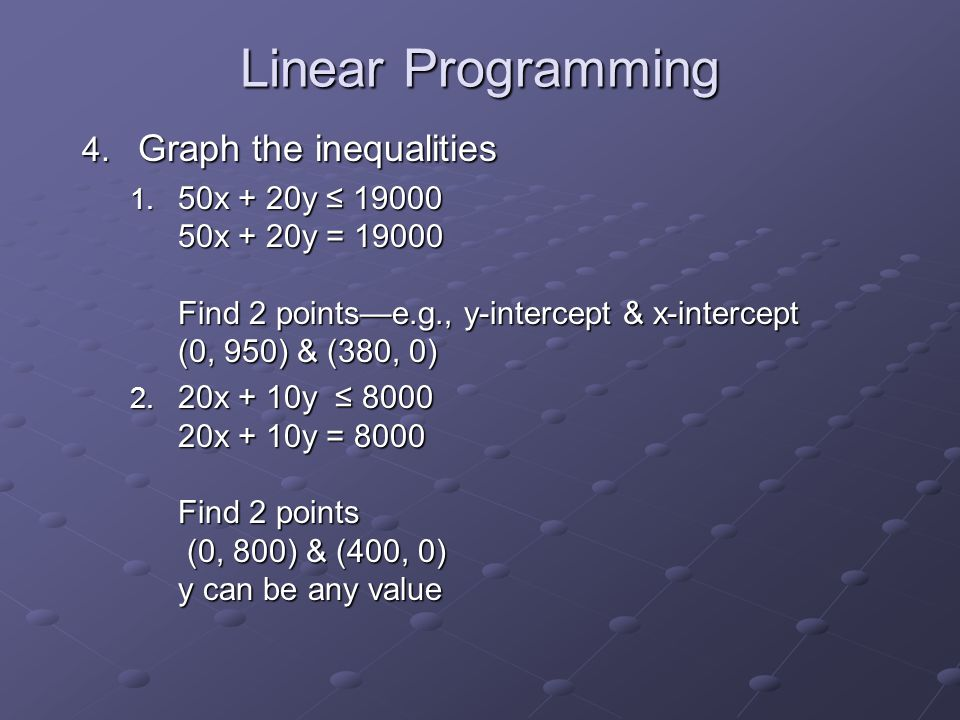 Linear Programming 4. Graph the inequalities 1.