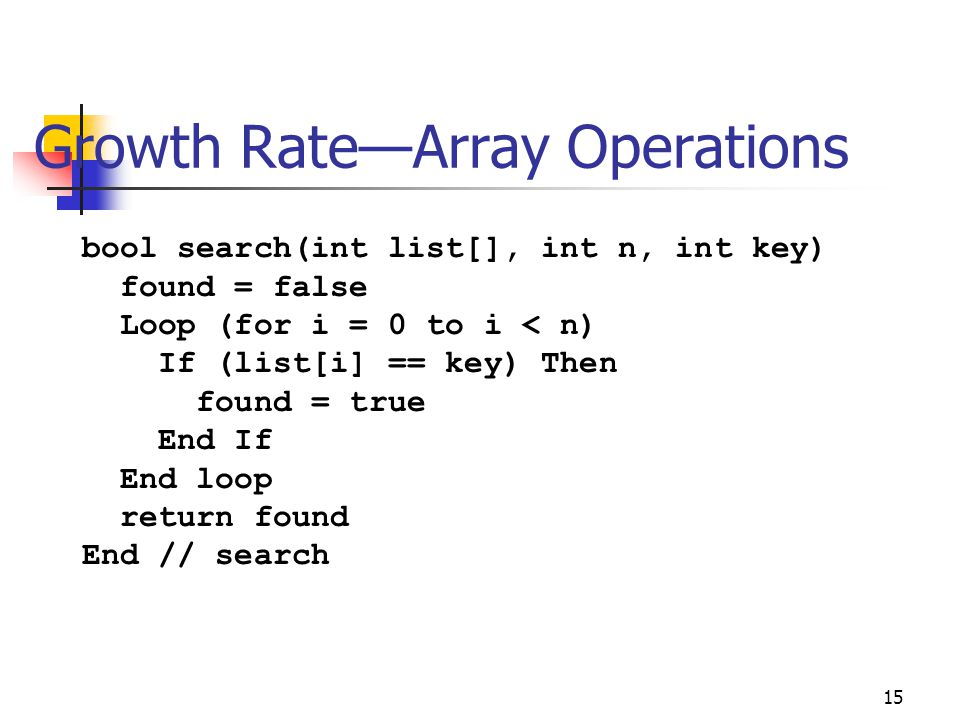 Growth Rate—Array Operations 15 bool search(int list[], int n, int key) found = false Loop (for i = 0 to i < n) If (list[i] == key) Then found = true