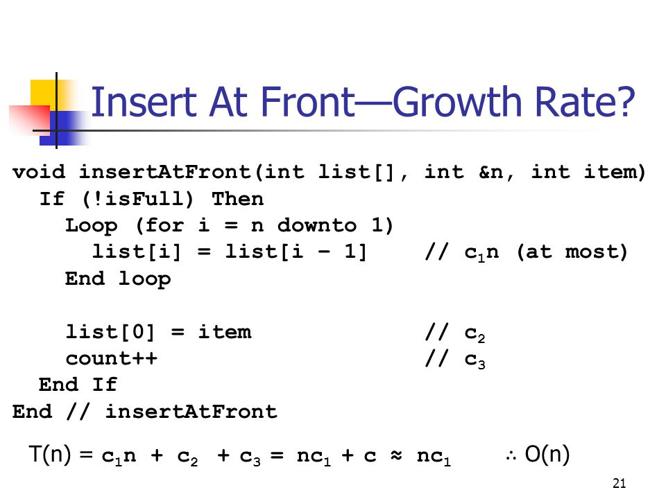 Insert At Front—Growth Rate? 21 void insertAtFront(int list[], int &n, int item) If (!isFull) Then Loop (for i = n downto 1) list[i] = list[i – 1] //