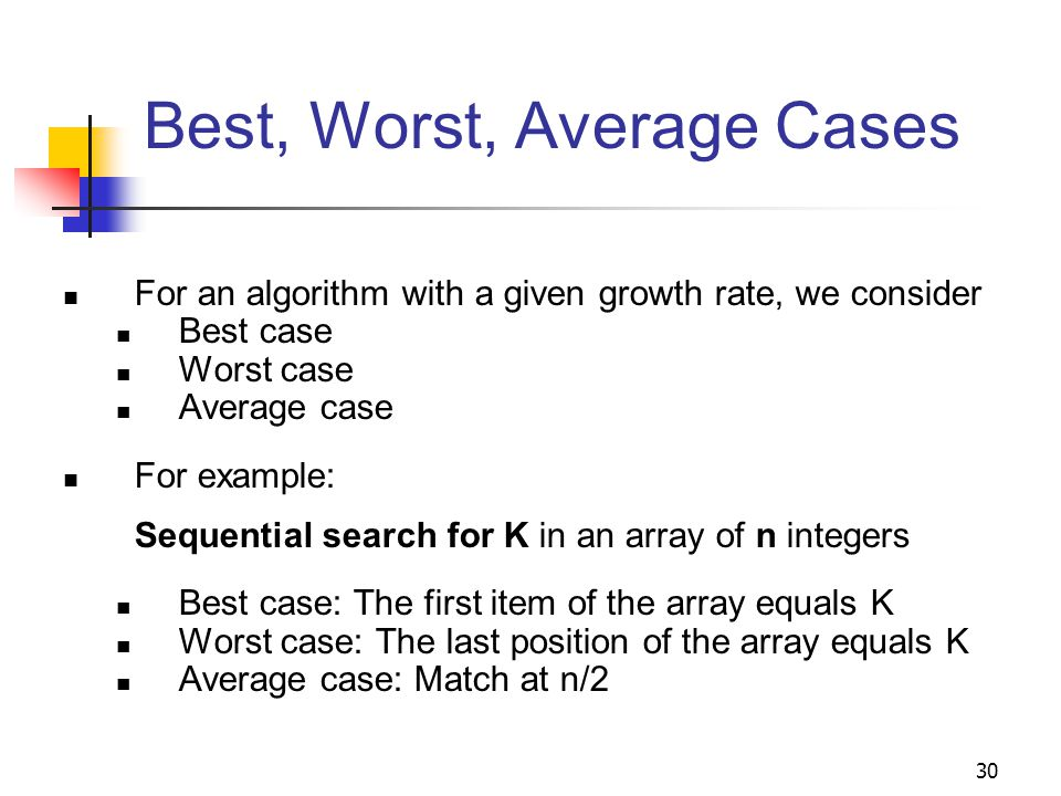 30 Best, Worst, Average Cases For an algorithm with a given growth rate, we consider Best case Worst case Average case For example: Sequential search