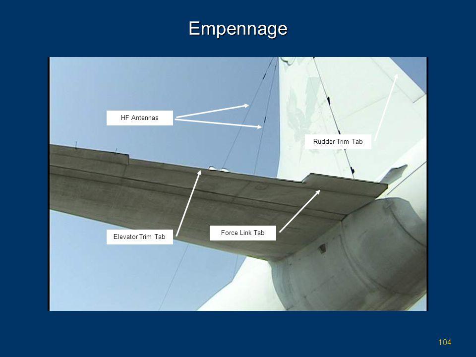 104 Empennage Force Link Tab Elevator Trim Tab Rudder Trim Tab HF Antennas