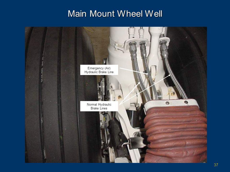 37 Main Mount Wheel Well Normal Hydraulic Brake Lines Emergency (Air) Hydraulic Brake Line