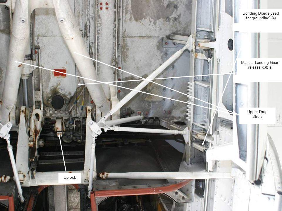 43 Bonding Braids(used for grounding) (4) Upper Drag Struts Manual Landing Gear release cable Uplock