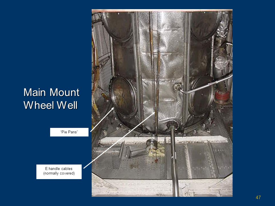 """47 Main Mount Wheel Well """"Pie Pans"""" E handle cables (normally covered)"""