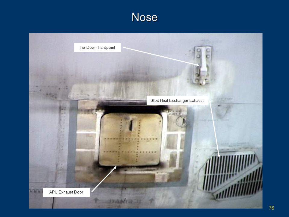 76 Nose Tie Down Hardpoint APU Exhaust Door Stbd Heat Exchanger Exhaust