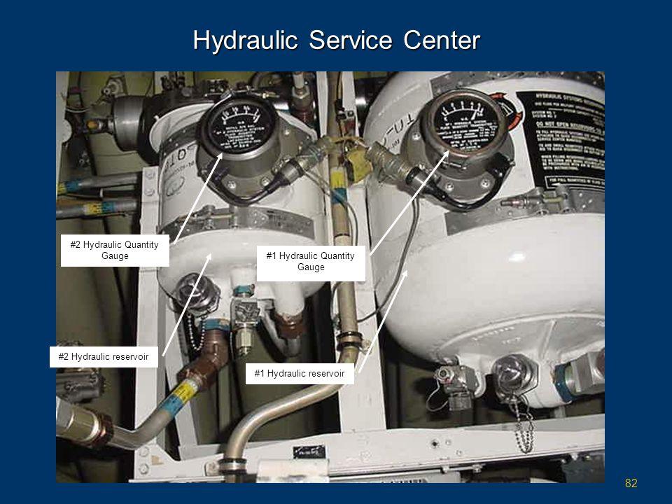 82 Hydraulic Service Center #2 Hydraulic reservoir #1 Hydraulic reservoir #2 Hydraulic Quantity Gauge #1 Hydraulic Quantity Gauge