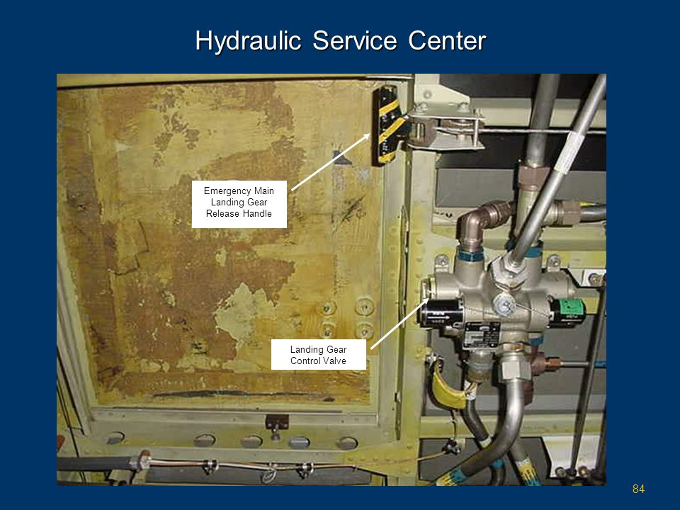 84 Hydraulic Service Center Landing Gear Control Valve Emergency Main Landing Gear Release Handle