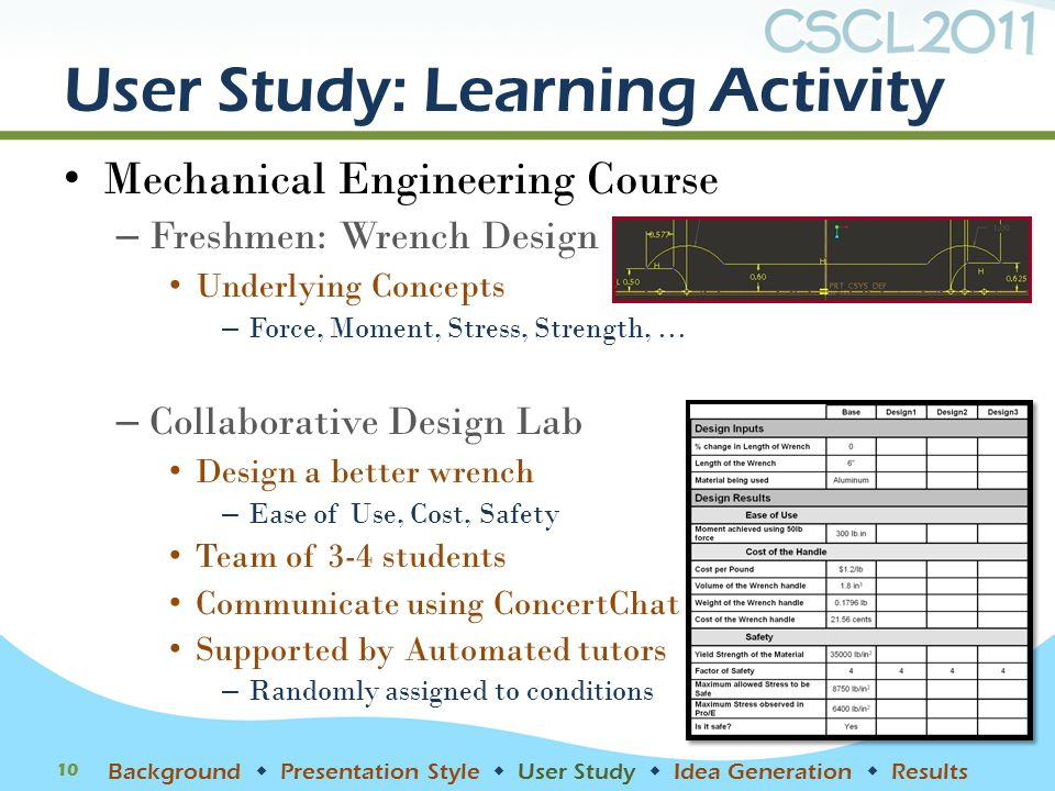 User Study: Learning Activity Mechanical Engineering Course – Freshmen: Wrench Design Underlying Concepts – Force, Moment, Stress, Strength, … – Colla