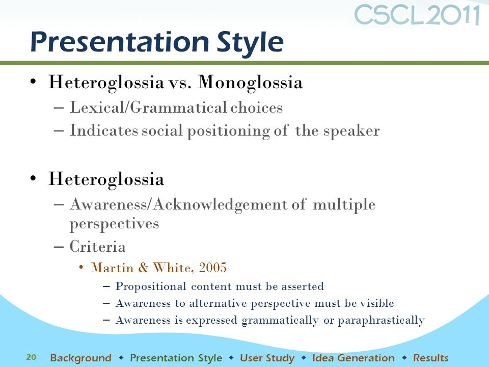 Presentation Style Heteroglossia vs.
