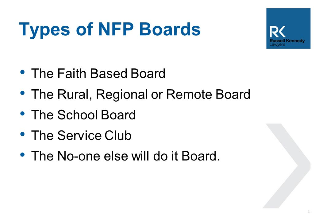 The Faith Based Board The Rural, Regional or Remote Board The School Board The Service Club The No-one else will do it Board.
