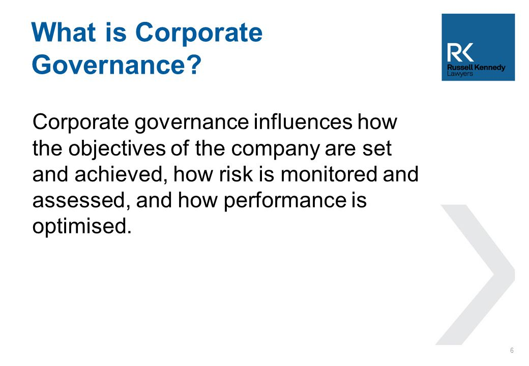 Corporate governance influences how the objectives of the company are set and achieved, how risk is monitored and assessed, and how performance is opt