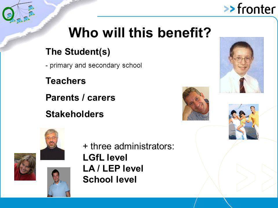 The Student(s) - primary and secondary school Teachers Parents / carers Stakeholders + three administrators: LGfL level LA / LEP level School level Who will this benefit