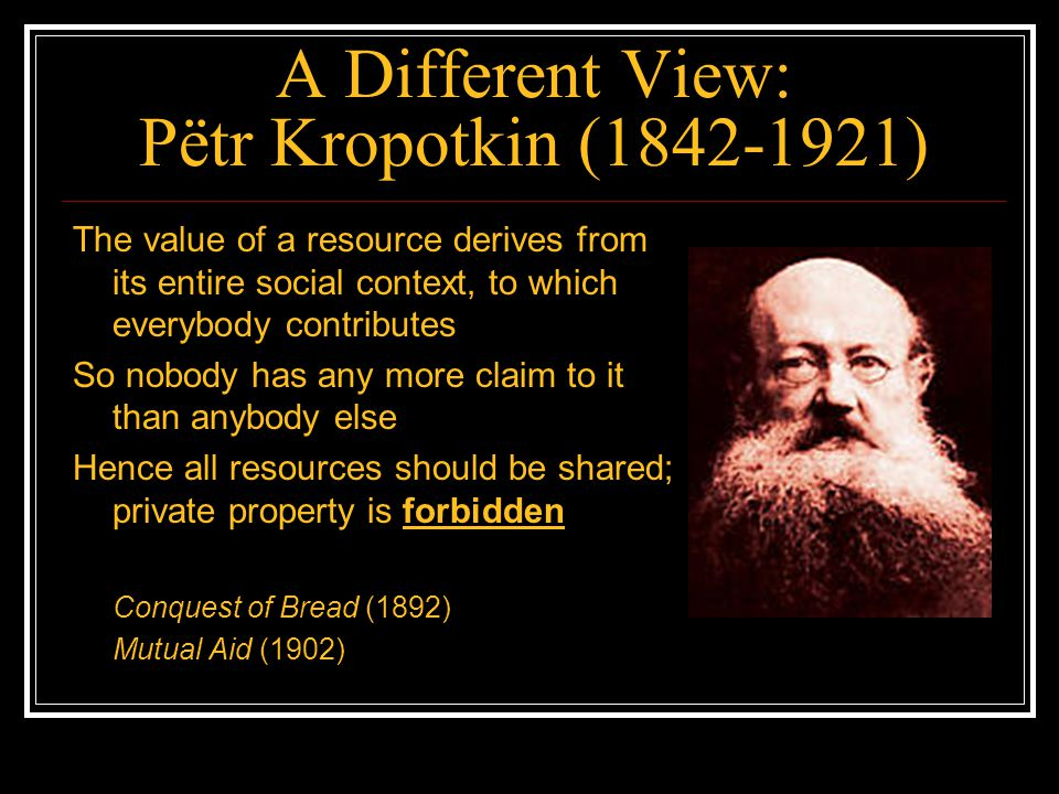 A Different View: Pëtr Kropotkin (1842-1921) The value of a resource derives from its entire social context, to which everybody contributes So nobody
