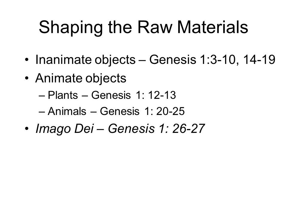 Shaping the Raw Materials Inanimate objects – Genesis 1:3-10, 14-19 Animate objects –Plants – Genesis 1: 12-13 –Animals – Genesis 1: 20-25 Imago Dei – Genesis 1: 26-27