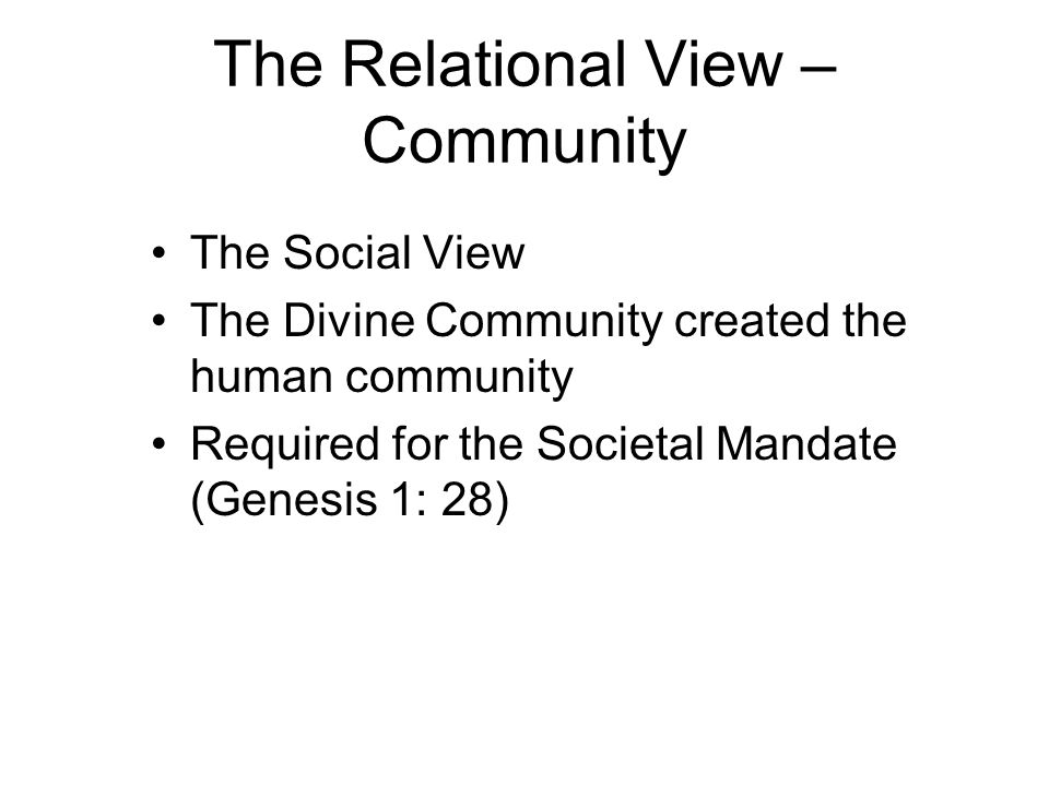 The Relational View – Community The Social View The Divine Community created the human community Required for the Societal Mandate (Genesis 1: 28)