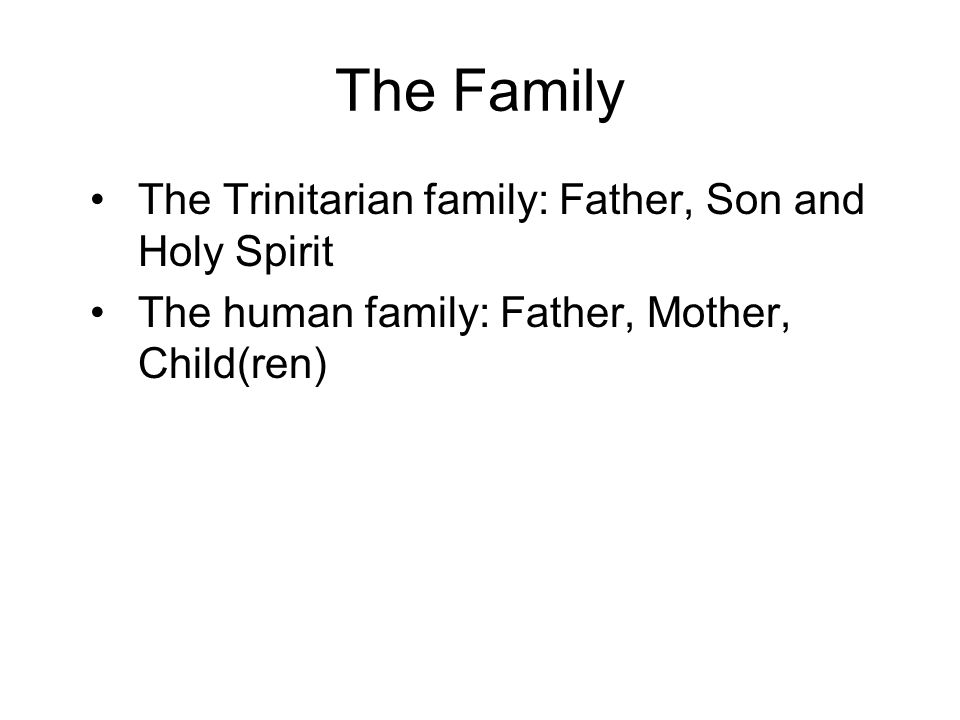 The Family The Trinitarian family: Father, Son and Holy Spirit The human family: Father, Mother, Child(ren)