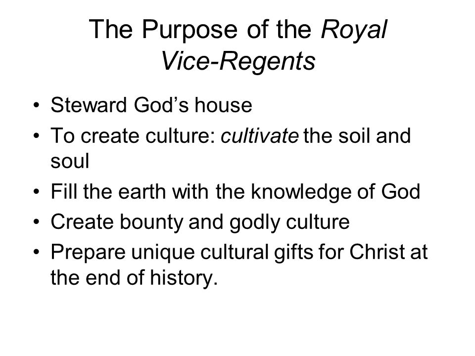 The Purpose of the Royal Vice-Regents Steward God's house To create culture: cultivate the soil and soul Fill the earth with the knowledge of God Create bounty and godly culture Prepare unique cultural gifts for Christ at the end of history.