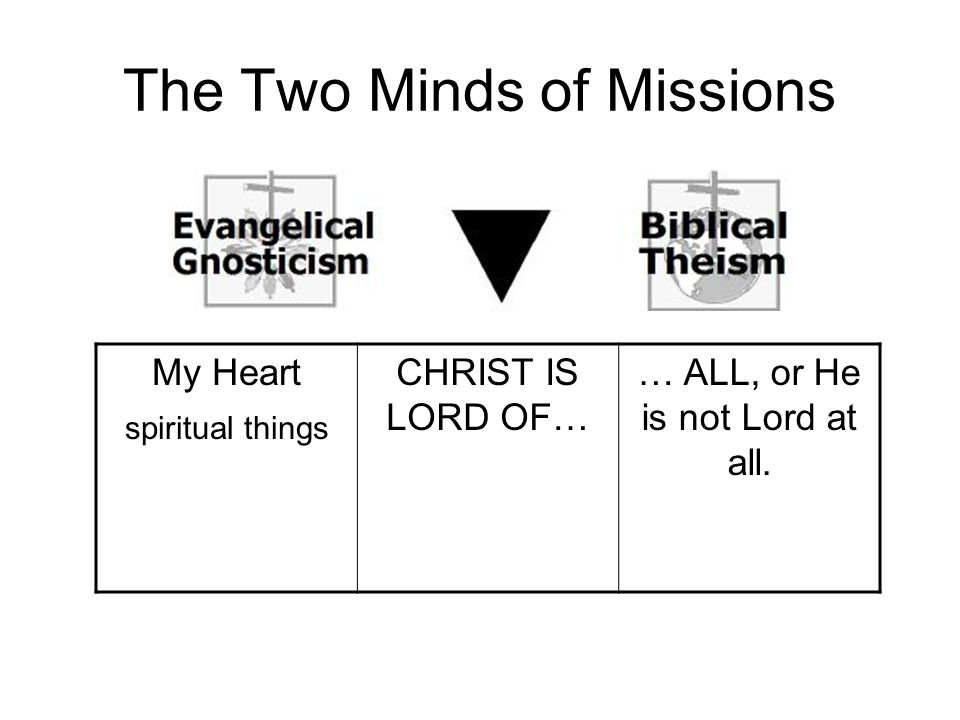 The Two Minds of Missions My Heart spiritual things CHRIST IS LORD OF… … ALL, or He is not Lord at all.