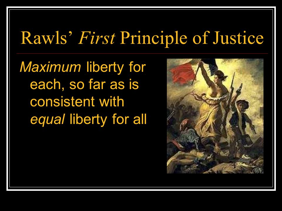 Rawls' First Principle of Justice Maximum liberty for each, so far as is consistent with equal liberty for all