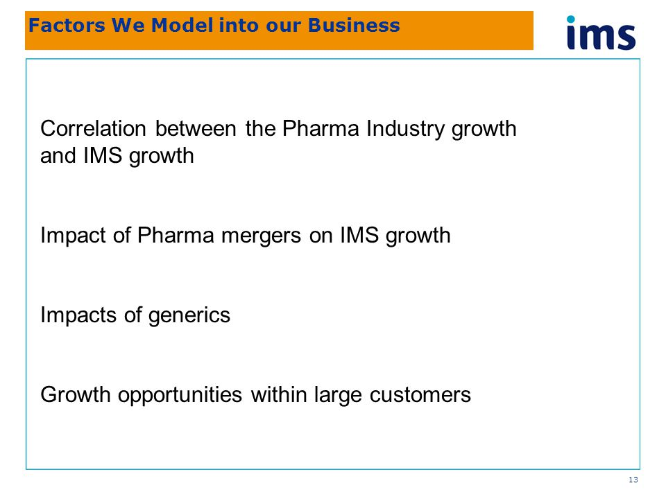 13 Factors We Model into our Business Correlation between the Pharma Industry growth and IMS growth Impact of Pharma mergers on IMS growth Impacts of generics Growth opportunities within large customers