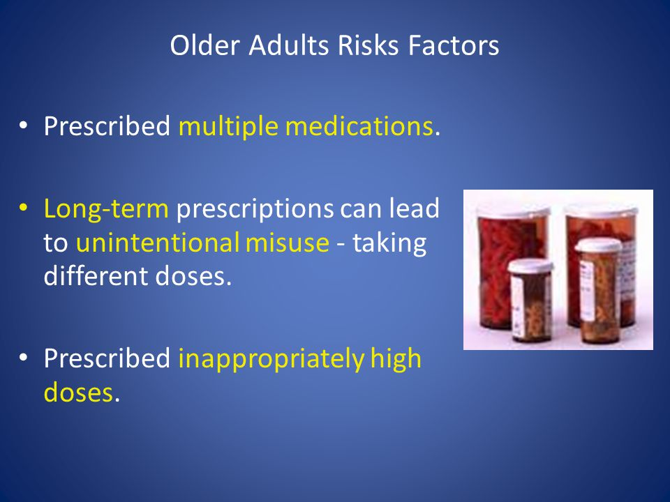 Older Adults Risks Factors Prescribed multiple medications.
