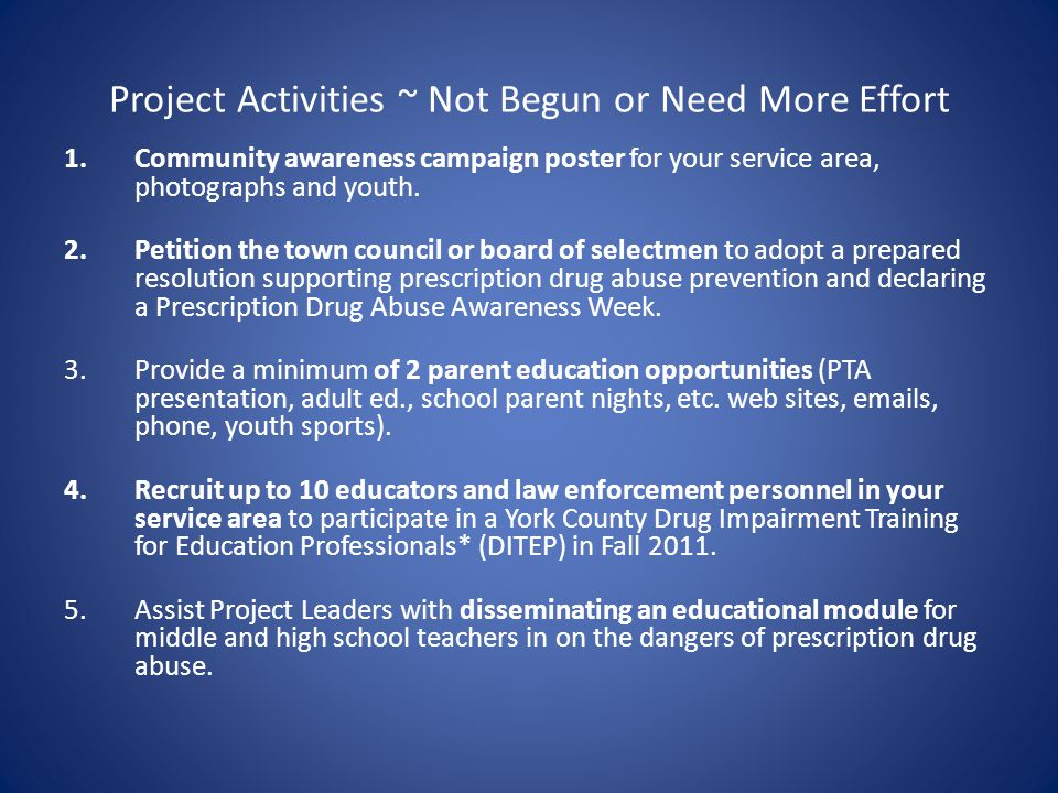 Project Activities ~ Not Begun or Need More Effort 1.Community awareness campaign poster for your service area, photographs and youth.