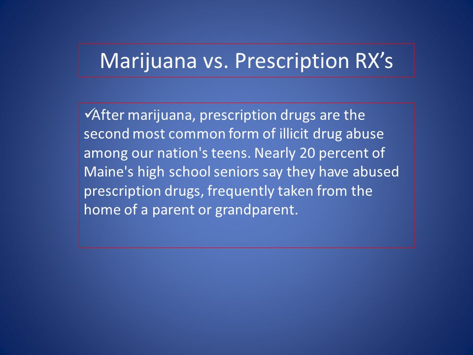 After marijuana, prescription drugs are the second most common form of illicit drug abuse among our nation s teens.