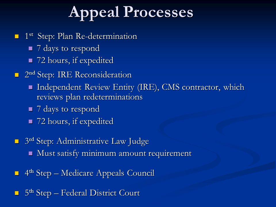 Appeal Processes 1 st Step: Plan Re-determination 1 st Step: Plan Re-determination 7 days to respond 7 days to respond 72 hours, if expedited 72 hours
