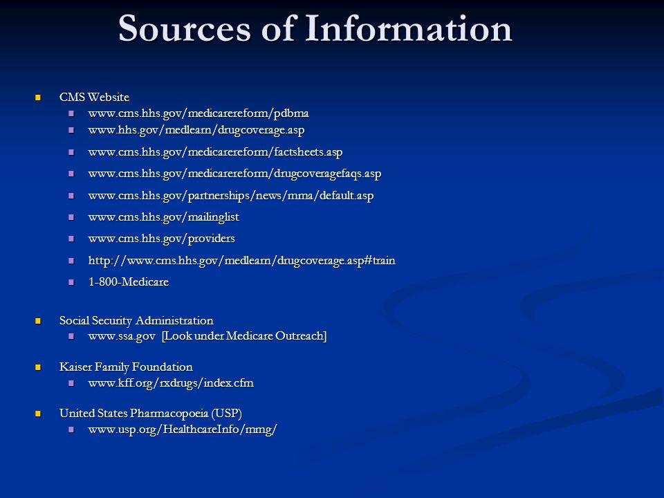 Sources of Information CMS Website CMS Website www.cms.hhs.gov/medicarereform/pdbma www.cms.hhs.gov/medicarereform/pdbma www.hhs.gov/medlearn/drugcove
