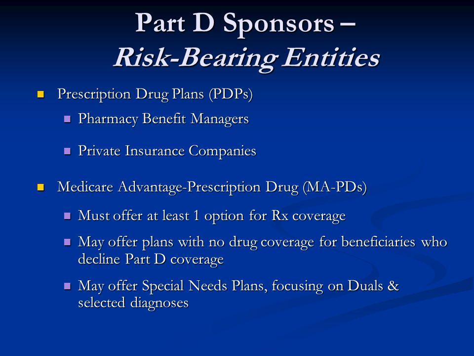 Part D Sponsors – Risk-Bearing Entities Prescription Drug Plans (PDPs) Prescription Drug Plans (PDPs) Pharmacy Benefit Managers Pharmacy Benefit Manag