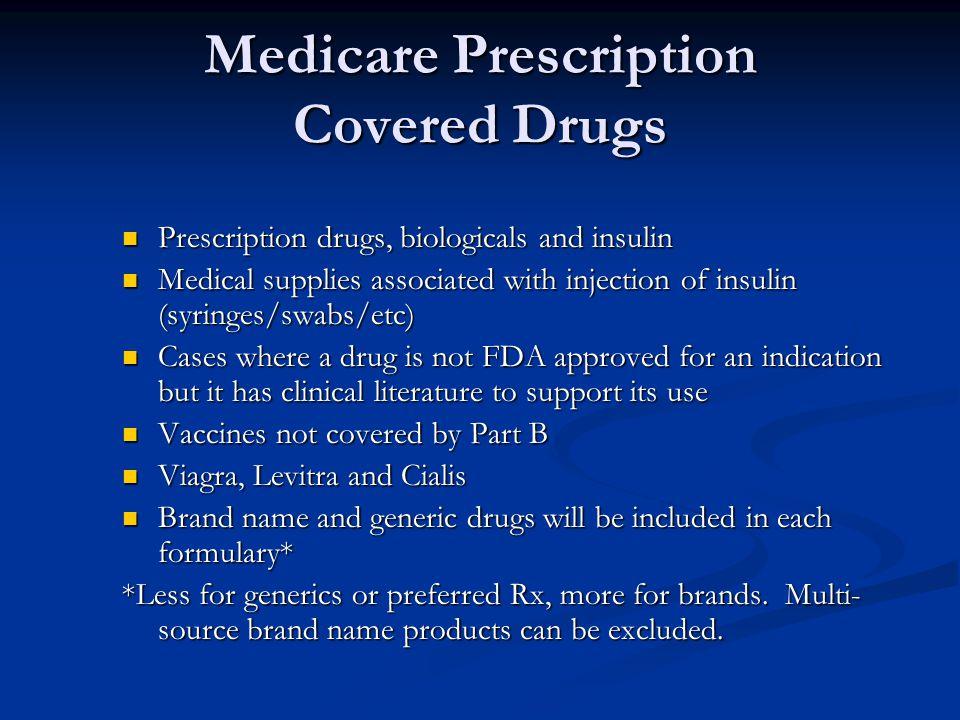 Medicare Prescription Covered Drugs Prescription drugs, biologicals and insulin Prescription drugs, biologicals and insulin Medical supplies associate