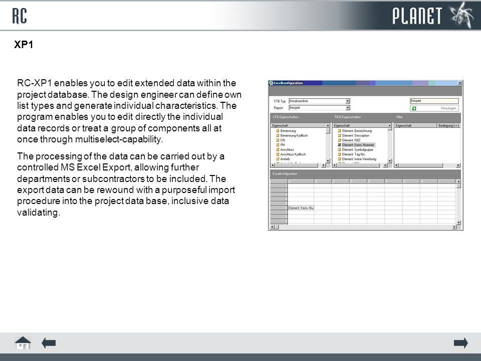 XP1 RC-XP1 enables you to edit extended data within the project database.