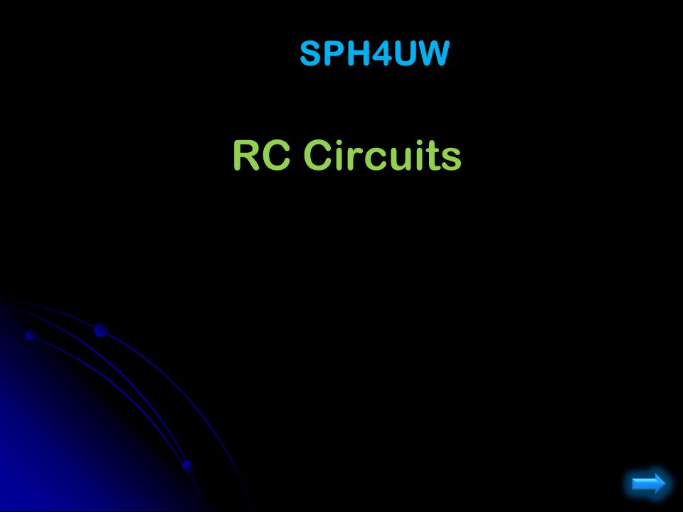 RC Circuits: Discharging - q(t) / C - I(t) R = 0 KVL: - q(t) / C - I(t) R = 0 q=q 0 Just after…: q=q 0 Capacitor is still fully charged Capacitor is still fully charged +q 0 / C + I 0 R = 0 +q 0 / C + I 0 R = 0  I 0 = q 0 /(RC)  I 0 = q 0 /(RC) : I c =0 Long time after: I c =0 Capacitor is discharged Capacitor is discharged q  / C = 0  q  = 0 q  / C = 0  q  = 0 Intermediate (more complex) q(t) = q 0 e -t/RC q(t) = q 0 e -t/RC I c (t) = I 0 e -t/RC I c (t) = I 0 e -t/RC C  R S1S1 - + + I - + - S2S2 q RC2RC t