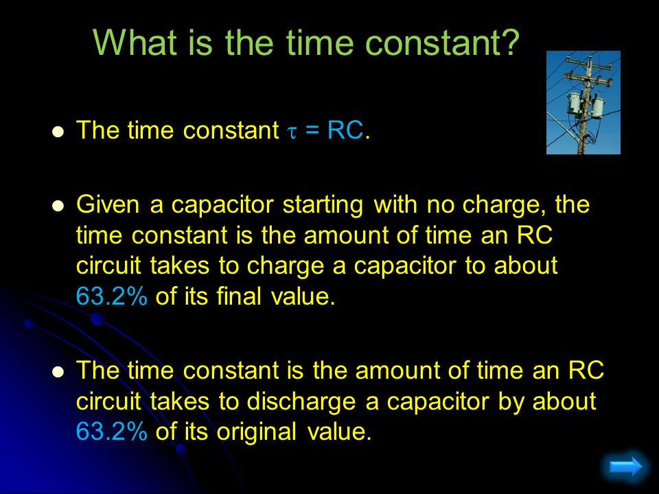 RC Circuits: Charging KVL: q =q 0 Just after S 1 is closed: q =q 0 Capacitor is uncharged (no time has passed so charge hasn't changed yet)  - I 0 R = 0  I 0 =  / R  - I 0 R = 0  I 0 =  / R I c = 0 Long time after: I c = 0 Capacitor is fully charged +  - q  /C =0  q  =  C +  - q  /C =0  q  =  C Intermediate (more complex) q(t) = q  (1-e -t/RC ) I(t) = I 0 e -t/RC C  R S1S1 S2S2 + + + I - - - The switches are originally open and the capacitor is uncharged.