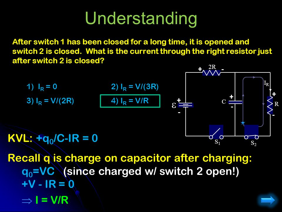 Understanding After switch 1 has been closed for a long time, it is opened and switch 2 is closed. What is the current through the right resistor just