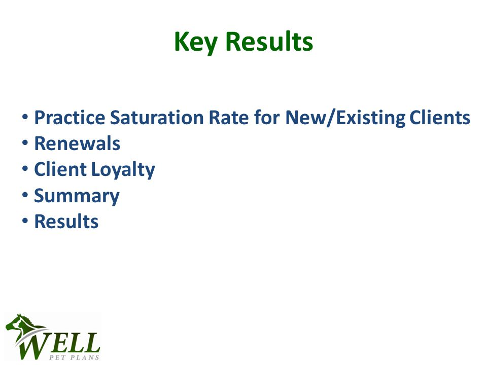 Key Results Practice Saturation Rate for New/Existing Clients Renewals Client Loyalty Summary Results