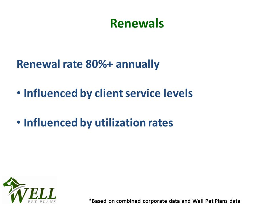 Renewals Renewal rate 80%+ annually Influenced by client service levels Influenced by utilization rates *Based on combined corporate data and Well Pet Plans data