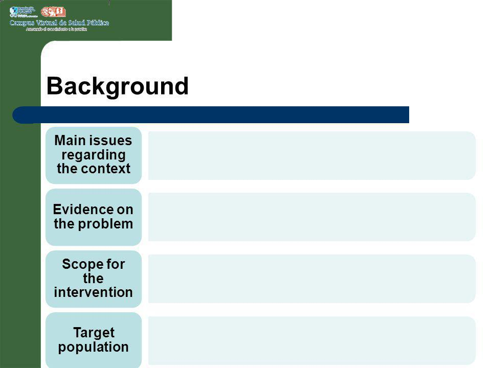 Background Main issues regarding the context Evidence on the problem Scope for the intervention Target population