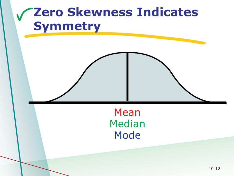 10-12 Median Zero Skewness Indicates Symmetry Mean Mode