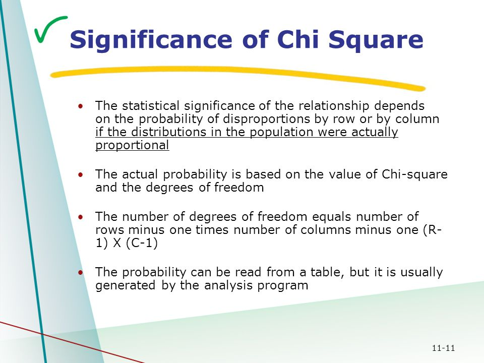 11-11 Significance of Chi Square The statistical significance of the relationship depends on the probability of disproportions by row or by column if