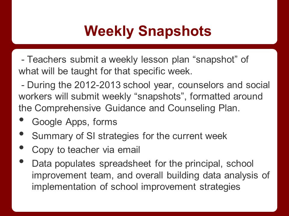"""Weekly Snapshots - Teachers submit a weekly lesson plan """"snapshot"""" of what will be taught for that specific week. - During the 2012-2013 school year,"""