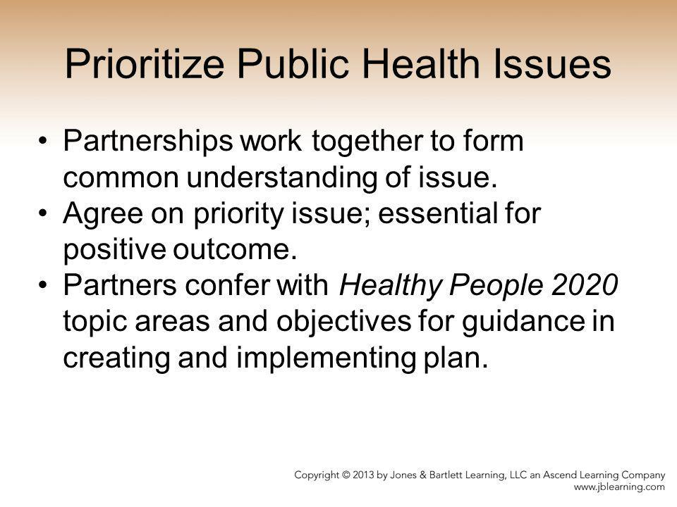 Prioritize Public Health Issues Partnerships work together to form common understanding of issue. Agree on priority issue; essential for positive outc