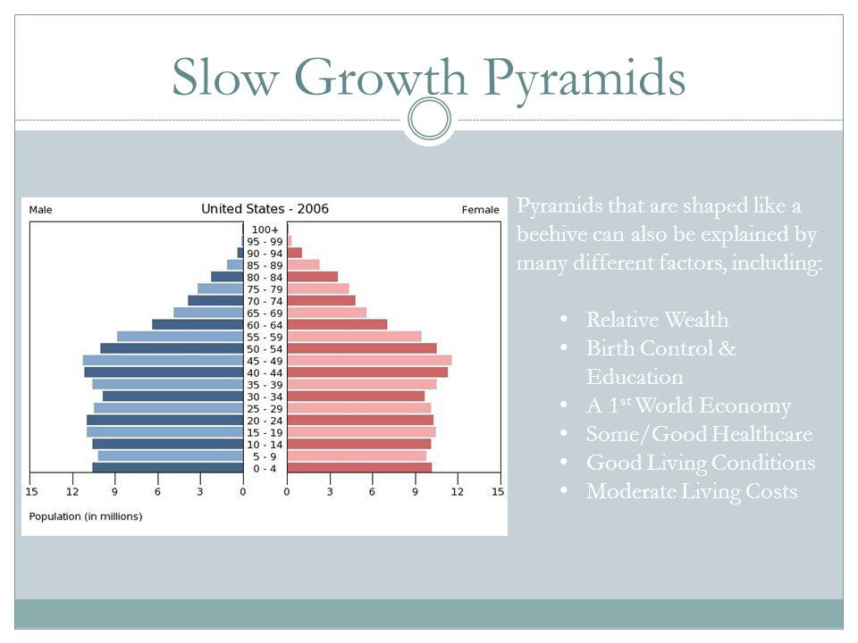 Slow Growth Pyramids Pyramids that are shaped like a beehive can also be explained by many different factors, including: Relative Wealth Birth Control
