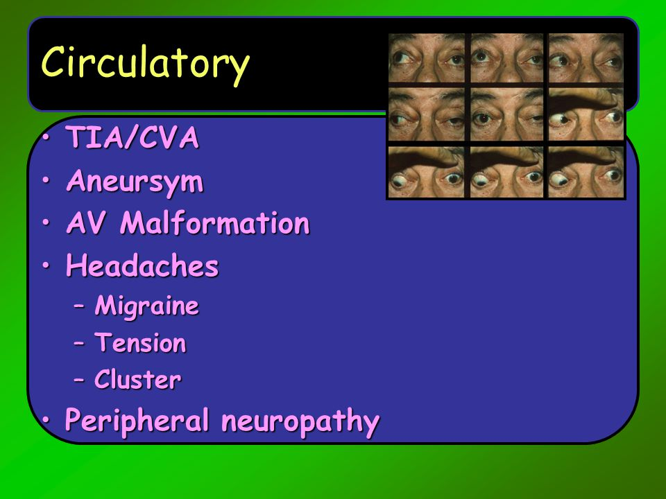 Other Dementias Chronic infections, vasculitis:Chronic infections, vasculitis: –Cryptococcal, fungal.