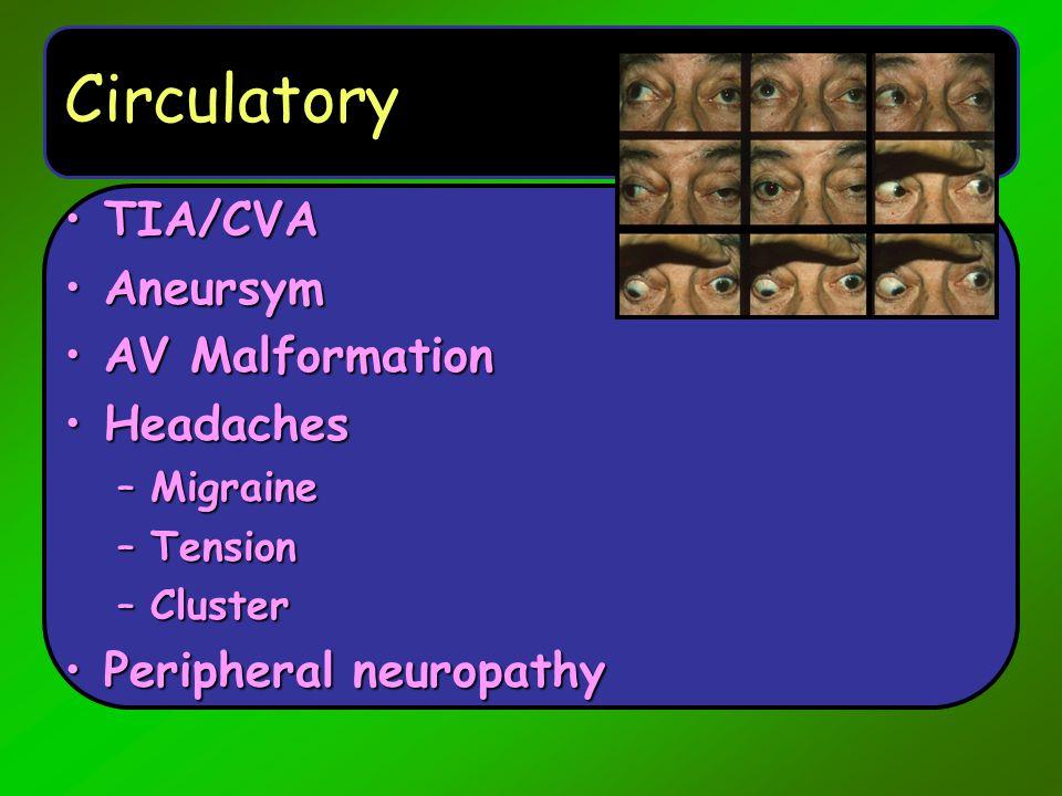 Infection/Trauma Meningitis and encephalitisMeningitis and encephalitis Viral meningitisViral meningitis Seizure disorders/ epilepsySeizure disorders/ epilepsy Bell's palsyBell's palsy Trigeminal neuralgiaTrigeminal neuralgia