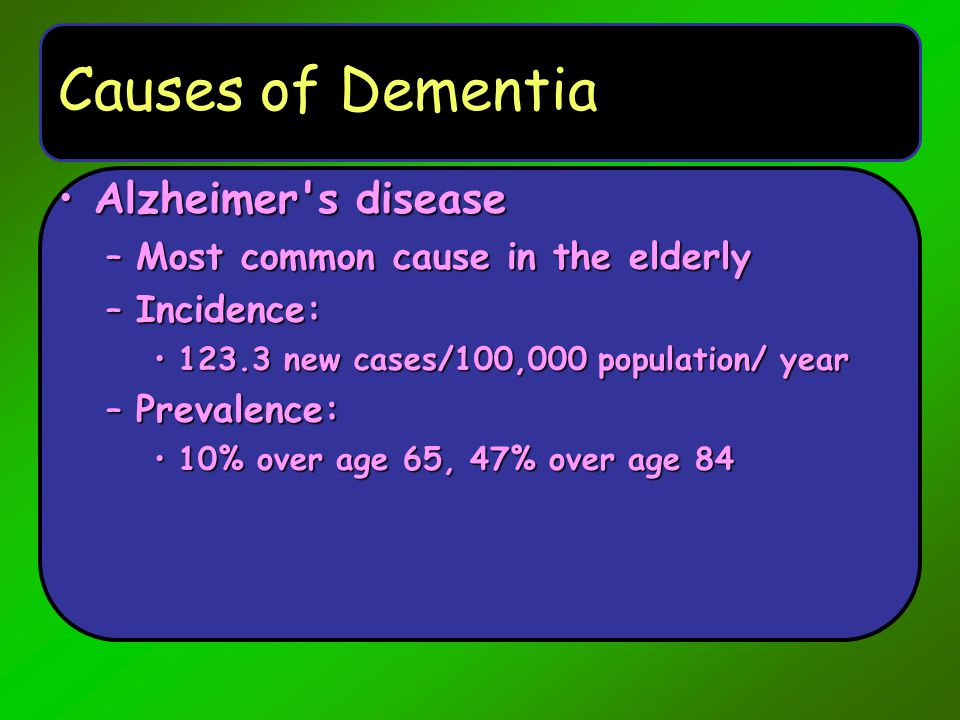 Causes of Dementia Alzheimer's diseaseAlzheimer's disease –Most common cause in the elderly –Incidence: 123.3 new cases/100,000 population/ year123.3