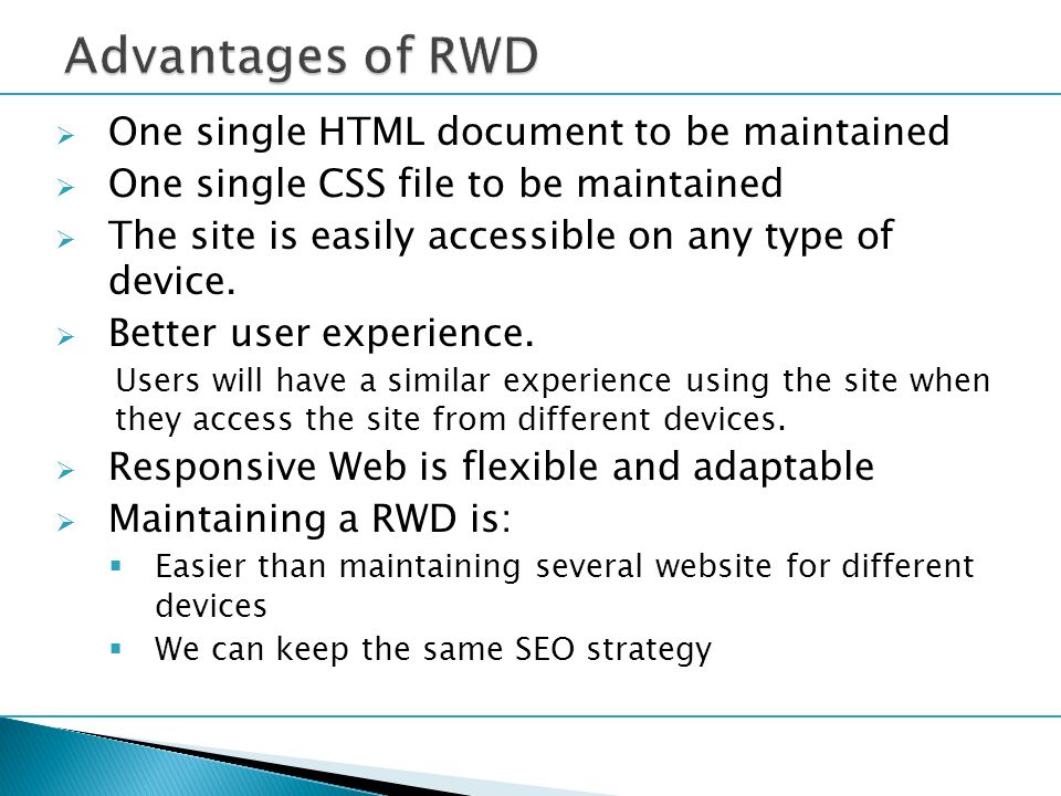  There are three parts in Responsive Wed design: 1.Flexible, grid-based layouts The web sites are built using percentage for the widths 2.Media queries Use a module from the CSS3 specification 3.Flexible media & images When screen size begins to change, the media/images need to be flexible to suit the screen size
