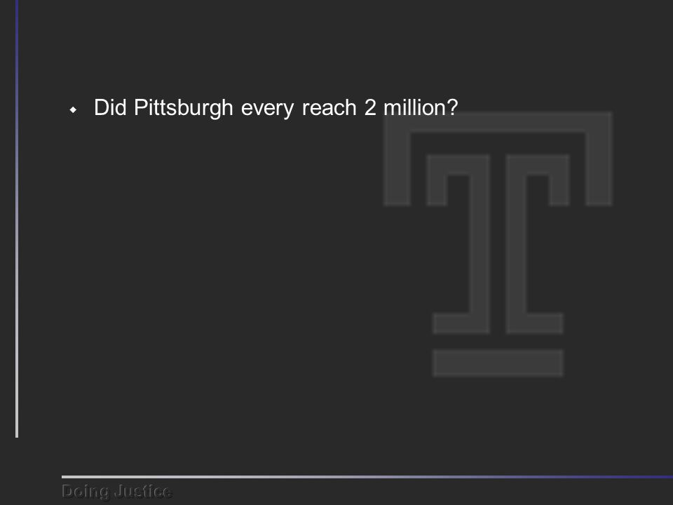  Did Pittsburgh every reach 2 million