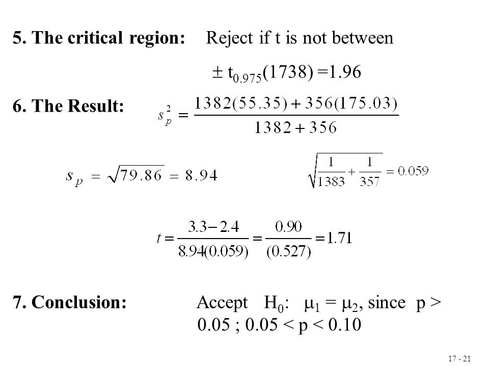 17 - 21 5. The critical region: Reject if t is not between  t 0.975 (1738) =1.96 6. The Result: 7. Conclusion: Accept H 0 :  1 =  2, since p > 0.05
